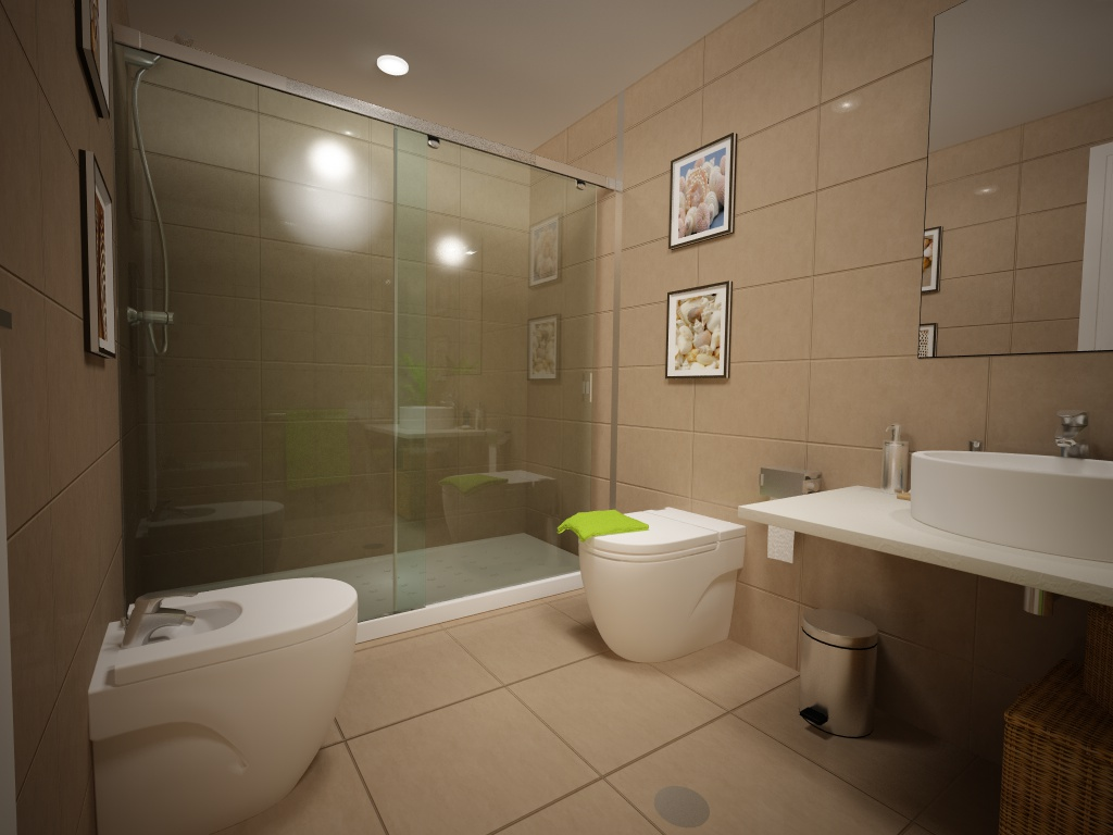 Imagenes De Baños Pequenos Con Banera:recreación virtual de baño con bañera o ducha un cuarto de