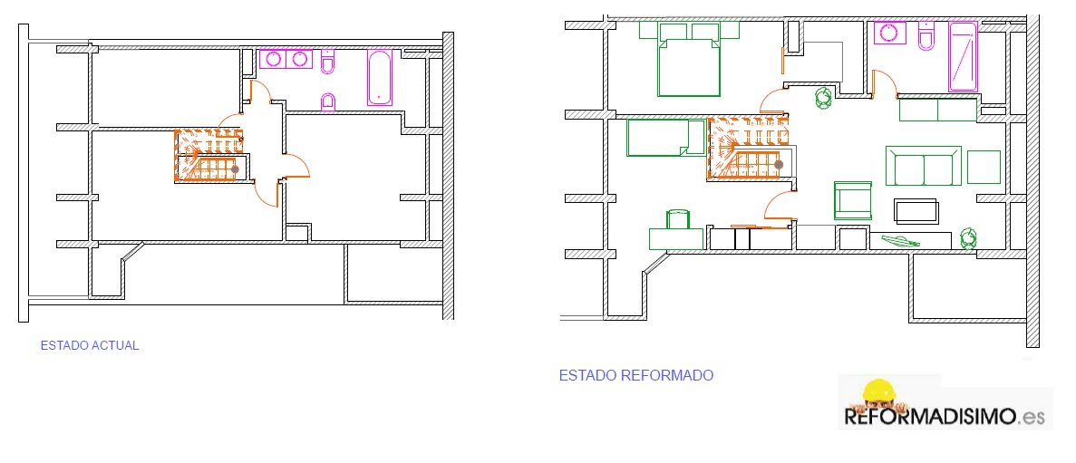 D plex reformado for Plano de pieza cocina y bano