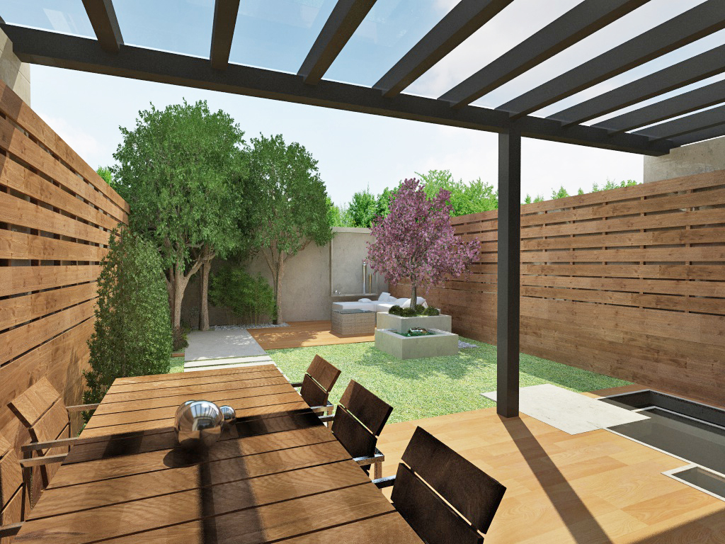 Recreaci n virtual terraza exterior con comedor for Comedor terraza easy
