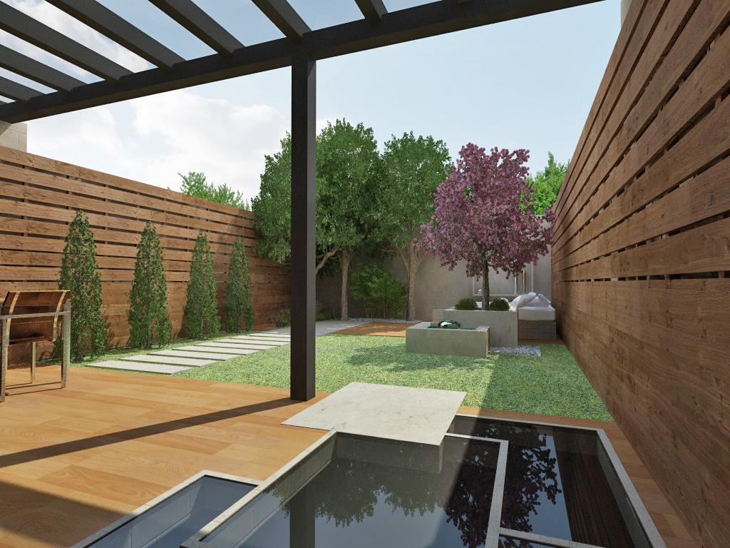 Recreación Virtual Terraza Exterior con comedor